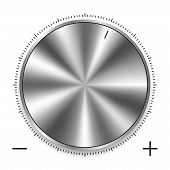 Metalic Round Knob With Circular Scale. Realistic Silver Or Chrome Steel Button With Circular Proces poster