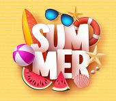 Summer Banner Design With 3d Text Title And Colorful Tropical Beach Elements In Yellow Pattern Backg poster
