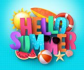 Hello Summer Vector Banner Greeting Design With 3d Text Typography And Colorful Beach Elements In Bl poster