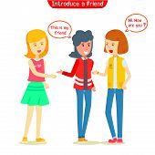 Group Of Teen Girl Talking Outdoor, Girl Introduced New Friend To Her Friend, Two Girl Students Talk poster