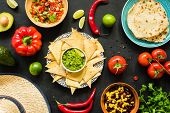 Nachos With Guacamole, Beans, Salsa And Tortillas. Mexican Food, Table Top View poster