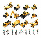 Isometric Construction Workers, Building Machinery And Equipment 3d Vector Set. Construction Equipme poster