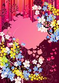 pic of cherry-blossom  - Floral greeting card with mimosa - JPG