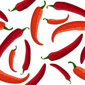 image of chili peppers  - Seamless red peppers - JPG