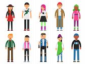 Постер, плакат: Fashioned Hipsters Alternative Funny Characters Peoples Isolate On White Background Character Hip