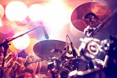 Live Music Background.concert And Band On Stage.drum And Show Performance.musical Background. poster