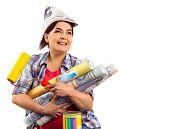 Repair home elderly woman holding paint roller for wallpaper. Senior woman in newspaper cap renovati poster