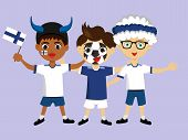 Fan Of Finland National Football, Hockey, Basketball Team, Sports. Boy With Finland Flag In The Colo poster