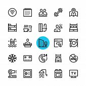 Hotel Facilities, Hotel Services Line Icons Set. Modern Graphic Design Concepts, Simple Outline Elem poster