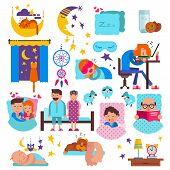 Sleeping People Vector Sleepy Cartoon Characters And Pets Sleep On Pillow In Bed Overnight Illustrat poster