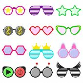 Vector Party Sunglasses Or Eyeglasses Set In Funny Shape. Accessories For Hipsters Fashion Optical S poster