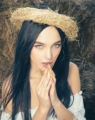 Eco Tourism, Agritourism, Rural Vacation. Sensual Woman On Hay In Barn, Agriculture. Agriculture, Fa poster