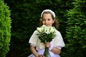 Fashion, Cinderella, Princess. Wedding Fashion, Beauty Salon. Little Girl In White Dress With Rose F poster
