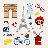 Fashion France Patch Badges With Paris Tower, Mime, Dancer, France Cheese, Tower, Bicycle, Paris Tra poster