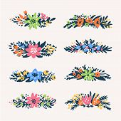 Cute Little Floral Bouquets Borders, Retro Styled Flowers. Floral Dividers Set. Useful For Create We poster