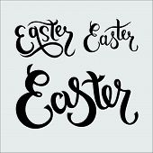 Hand Sketched Easter Text Set As Pascha Logotype, Badge And Icon. Drawn Resurrection Sunday Postcard poster