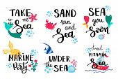 Summer Lettering. Set Hand Drawn Icons, Signs And Banners. Bright Summertime Poster. Collection Summ poster