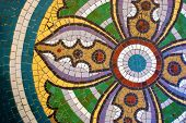 Vintage Texture. Detail Of Beautiful Old Collapsing Abstract Ceramic Mosaic Adorned Building. Mosaic poster