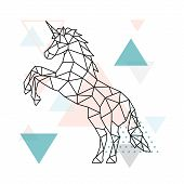 Geometric Unicorn Design. Outline Geometric Unicorn Illustration For Poster, Greeting Card, Wall Dec poster