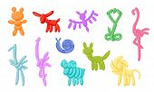 Animal Balloons. Vector Balloon Animals For Happy Kids Party Isolated On White Background. Toy Ballo poster