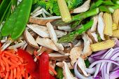foto of snow peas  - Selection of mixed sliced vegetables prepared for stir fry dish - JPG