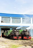 stock photo of former yugoslavia  - steam locomotives in depot - JPG