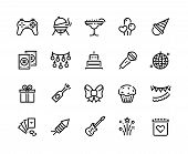 Party Line Icons. Birthday Celebration With Gift Balloons Bbq Music And Fireworks, Celebration With  poster