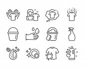 Set Of Cleaning Icons, Such As Clean Bubbles, Clean Shirt, Bucket, T-shirt, Dry T-shirt, Dirty Water poster