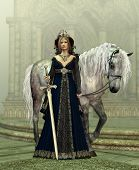 picture of dapple-grey  - A young woman in medieval dress and a white horse - JPG