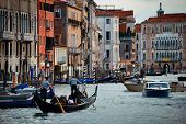 Busy water traffic in Grand Canal in Venice, Italy. poster