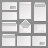 Envelopes. Blank Corporate Closed And Open Envelope For A4 Letter Sheet. Paper Postal Packages, Mail poster