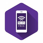 White Smartphone With Free Wi-fi Wireless Connection Icon With Long Shadow. Wireless Technology, Wi- poster
