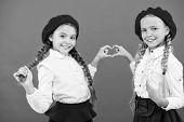 Best Friends. Fancy Style. School Friendship. Schoolgirls Wear Formal School Uniform. Children Beaut poster