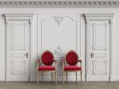 Classic Carver Chairs In Gold And Red In Classic Interior With Copy Space.white Walls With Ornated M poster