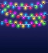 Light Garlands Background. Christmas Party Glowing Color Lamps, Winter Holidays Lighting Decor. Vect poster