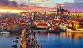 Panoramic view above at Charles Bridge Prague Castle and river Vltava Prague Czech Republic. Picture poster