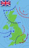United Kingdom. Weather Map Of The Great Britain With Nation Flag. Meteorological Forecast. Editable poster