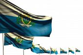 Wonderful Holiday Flag 3d Illustration  - Many San Marino Flags Placed Diagonal Isolated On White Wi poster