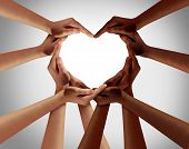 Racial Love With White Caucasion And Black African American Hands Shaped As An Interracial Heart Rep poster