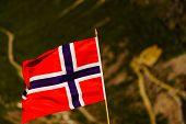Norwegian Flag And Trollstigen Mountain Road poster