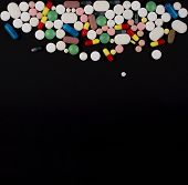 Medical Background With Pills. Pharmaceutical Medicine Pills, Tablets And Capsules Of Different Colo poster