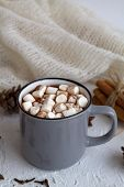 Winter Decoration. Winter And Autumn Hot Drinks. Grey Cup Of Hot Cocoa Or Chocolate With Marshmallow poster