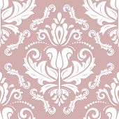 Classic Seamless Purple And White Pattern. Damask Orient Ornament. Classic Vintage Background. Orien poster