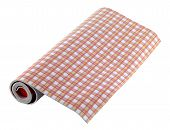 Roll Of Wallpaper On White Background. Wallpaper Pattern Is Red poster