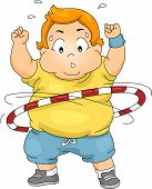 Illustration of an Overweight Boy Using a Hula Hoop