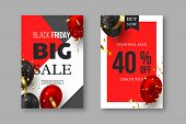 Black Friday Sale Posters. 3d Red And Black Realistic Glossy Balloons With Golden Serpentine. Grey,  poster