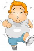 stock photo of obese children  - Illustration of an Overweight Boy Jogging - JPG