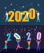 Set Of  Banners With People, Man And Woman Building A Numbers 2020, In Flat Modern Style. Preparing  poster