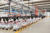 Large Hangar Warehouse Of Industrial And Logistics Companies. New Pallet Trucks In Stock. Industry S poster