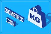 Isometric Weight Icon Isolated On Blue Background. Kilogram Weight Block For Weight Lifting And Scal poster